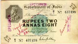 Rupees Two and Annas Eight - Obverse