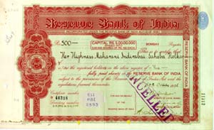 Image of Reserve Bank of India Share Certificate