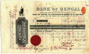 Image of The Bank of Bengal Share Certificate