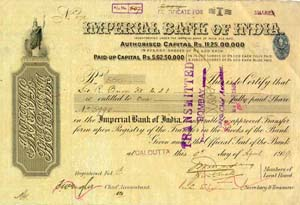 Image of Imperial Bank of India Share Certificate